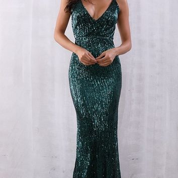Stealing Hearts Emerald Green Sequin Sleeveless Spaghetti Strap Plunge V Neck Backless Mermaid Maxi Dress