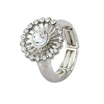 Dandelion White Rhinestone Sectional Band Simple Ring