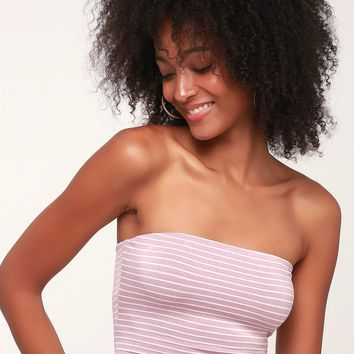 Colie Lavender and White Striped Tube Top