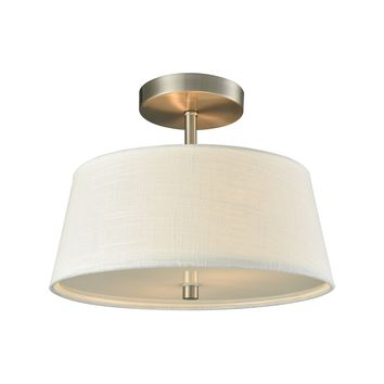 Morgan 2 Light Semi Flush In Brushed Nickel With White Fabric Shade And White Glass Diffuser