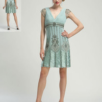 Sea Foam Beaded Cap Sleeve Deco Cocktail Dress - Unique Vintage - Bridesmaid & Wedding Dresses