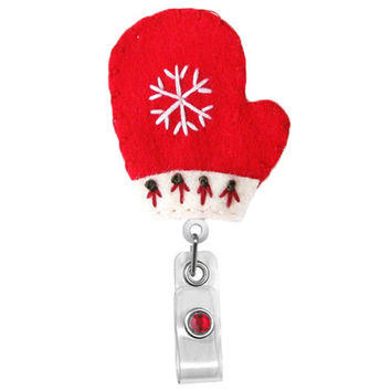 Mittens (Red)- Holiday Badge-Name Badge Holder - Nurses Badge Holder-Cute Badge Reels-Unique ID Badge Holder - Felt Badge - RN Badge Reel