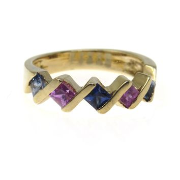 Sapphire Pink Ruby Stacking Band Ring, Vintage, 1930s to 1980s