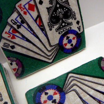Poker Playing Card Natural Stone Tile 4x4 Drink Coaster Set of 4 Ace King Queen Jack Players Deck of Cards Coasters