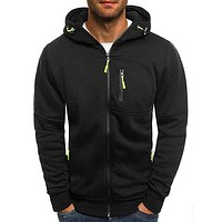 Mens Hooded Coat Sportswear Cardigan Sweatshirt