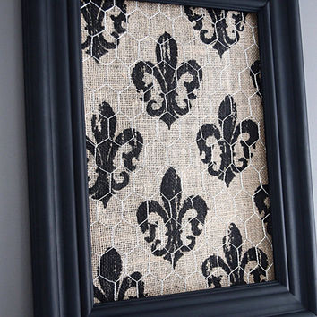 Black Framed Chicken Wire Organizer / Memo Board / Jewelry Hanger / Burlap w/ Black Fleur di lis
