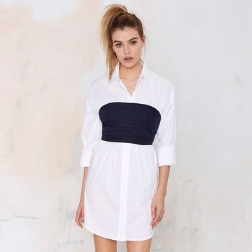 White Long Sleeve Collared Dress with Navy Blue Top