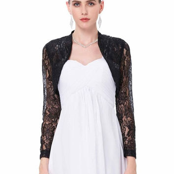 4 Colors Sexy Lace Jacket Womens Ladies Long Sleeve Cropped Shrug Black White Coat 2017 New Fashion Lace Bolero Plus Size