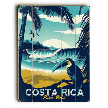 Costa Rica by Artist Matthew Schnepf Wood Sign