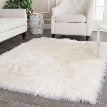 Safavieh Handmade Faux Sheep Skin Ivory Acrylic Rug - 4' x 6' | Overstock.com Shopping - The Best Deals on 3x5 - 4x6 Rugs