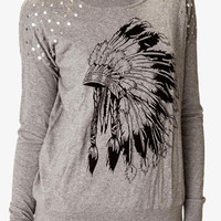 Studded Feather Graphic Sweater