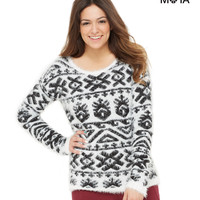 Aeropostale  Womens Fuzzy Patterned Sweater