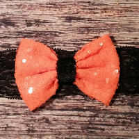 Big Orange Sequin Bow on Black Lace Halloween Baby Girl Headband!