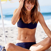 Aerie Scoop Crochet Bikini Top , Navy