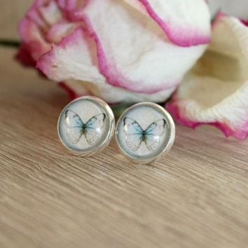 Vintage Butterfly Stud Earrings, Silver Plated, Glass Cabochon
