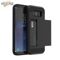 KISSCASE For Samsung S8 Plus Armor Case Galaxy S8 Hidden Dual Card Slot Phone Cases For Samsung S8 Plus Silicon PC Hybrid Cover