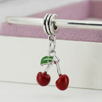 New Women Jewelry Alloy Bead Charms European Cherry Pendant Fit Diy Pandora Bracelets & Bangles YW15510