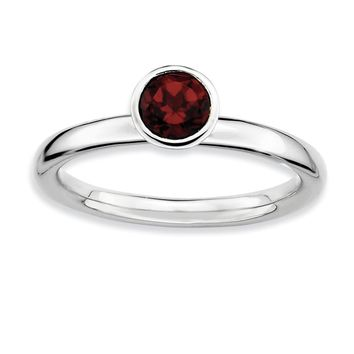 Sterling Silver & Garnet Stackable High Profile 5mm Solitaire Ring