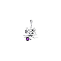 Kanji Happiness October Sterling Silver Pink Tourmaline Charm Necklace