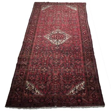 Wide Runner Herati Design Red Traditional Persian Wool Handmade Carpet 5x12 Rug