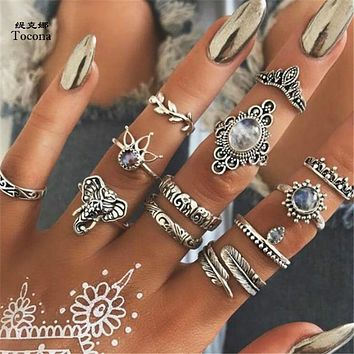 Tocona 12pcs/Set Bohemian Vintage Antique Silver Elephant Leaf Crown Finger Midi Knuckle Rings Set for Women Jewelry 6581