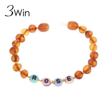 WinWinWin Natural Ambar Name Bracelet for Your Baby Birthday Gifts Souvenirs Baltic Ambar Beads Customized Personalized Jewelry