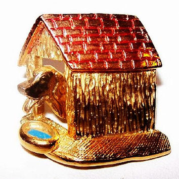 "Trembler Dog House Brooch Pin Red Blue Enamel Gold metal 1.5"" Vintage"