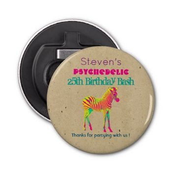 Neon Zebra Baby Animal Funky Cool Birthday Thanks Bottle Opener