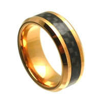 "Tungsten wedding band  "" FREE ENGRAVING "", MMTR328 Rose Gold PlatedTungsten Carbide engagement ring"