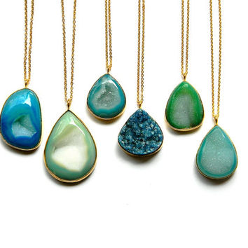 Drusy Necklace - Druzy Crystal Necklace - Gold Framed Necklace - Green or Turuqoise Drusy Druzy Necklace - Long Layering Necklace
