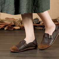 2016 New Handmade soft leather Shoes, Retro Leather Flat Loafer Shoes, Oxford Women Shoes,Casual Comfortable loafers Brown/Coffee