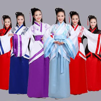 woman traditional chinese dance costumes women sleeve hanfu fairy dress chinese dance costumes women children for kids fan