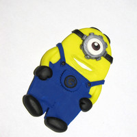 Despicable me one eyed minion polymer clay brooch