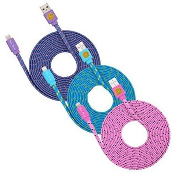 Qable Powerz Hi-Speed Braided Flat Noodle Lightning USB Sync Cable Charger Cord - Purple/Blue/Pink