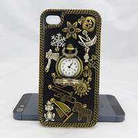 Retro pocket watch iPhone case,Snow bling iphone 6 case,Crystal iphone 6 Plus,chain iphone 5/5S/5c,iphone 4 case samsung galaxy S3/S4/S5