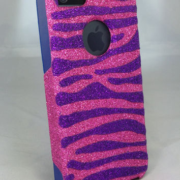 Custom Glitter Design Case Otterbox for iPhone 5 Raspberry/Blue Purple Zebra Stripes