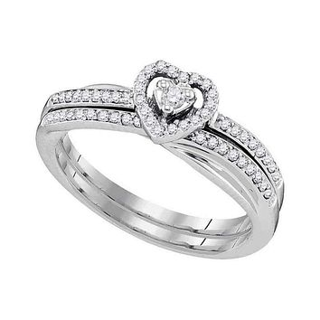 10kt White Gold Women's Round Diamond Heart Bridal Wedding Engagement Ring Band Set 1/4 Cttw - FREE Shipping (US/CAN)