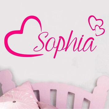 Personalised Name Wall Art Love Hearts Vinyl Sticker Girls Room Bedroom Nursery Room Decor Baby Wall Decals Girl Boys Gift JW161