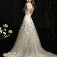 Allure 8965 A-Line V-Neck Fitted Dress Keyhole Back - A Line, Sweetheart, V Neck - Fitted Floral Lace Wedding Dress with chapel train