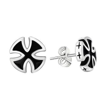 2 Pieces Fashion Punk Cool Biker Black Colors Cross Stud Earrings Anti-allergy Men's Male Body Piercing Jewelry
