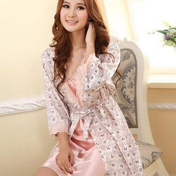 Women Set Robes Sexy Sleepwear Nightgown Dress Faux Silk Babydolls New