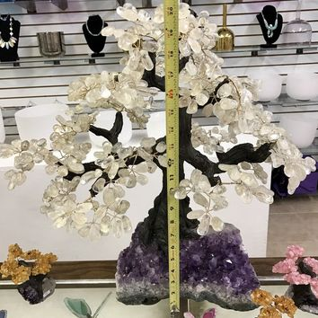 "Huge Gem Tree- Crystal Tree of Life Quartz Crystal Bonsai Tree Amethyst Cluster 20"" Tall Money Tree Wire Tree Sculpture"