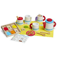 Melissa & Doug 22-Piece Steep and Serve Wooden Tea Set - Play Food and Kitchen A