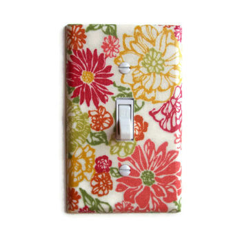 Boho Floral Single Toggle Switch Plate, switchplate decor
