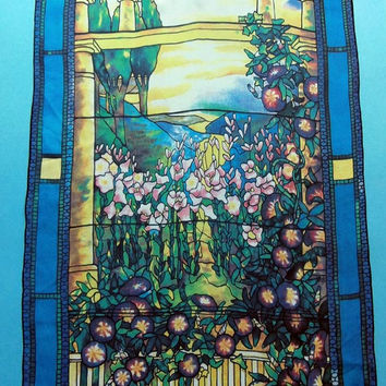 Beckford Silk Exquisite Graphics Louis Tiffany Era Vintage Silk Scarf