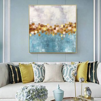 Gold Acrylic Painting On Canvas abstract Green Flowers Large nordic Wall Art Picture for living room Floral goldleaf cuadros abstractos