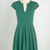 Mid-length Short Sleeves Fit & Flare Meet Me at the Punch Bowl Dress in Jade