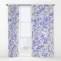 blue purple African lily watercolor painting Window Curtains by Color and Color