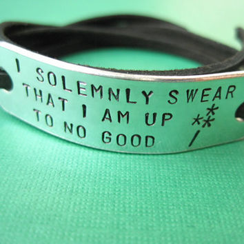 Harry Potter inspired Jewelry - I solemnly swear that I am up to no good - WAND - Personalized Wrap bracelet, Stamped Aluminum