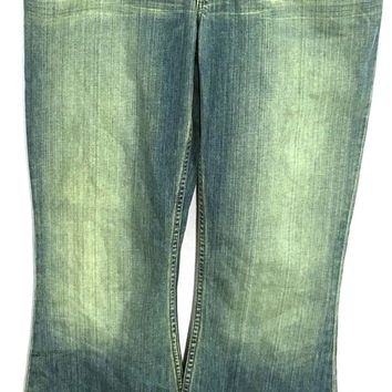 BKE Jeans Culture Green Wash Flare Cotton Irregular Womens 28 x 31.5 Size 6 - Preowned